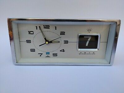 "VINTAGE RARE CHINA TABLE DESK ALARM CLOCK WITH FLIP DATE ""DIAMOND""70s"
