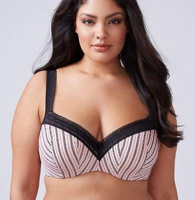 acb43e3bfad80 (NWOT CACIQUE STRIPE PARISIAN SMOOTH LIGHTLY LINED BALCONETTE BRA sz 42DDD)