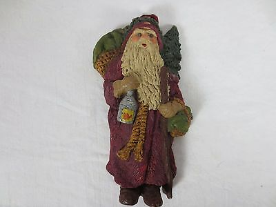 Vintage JUNE McKENNA SANTA CLAUS ORNAMENT carrying Oil Lamp USA