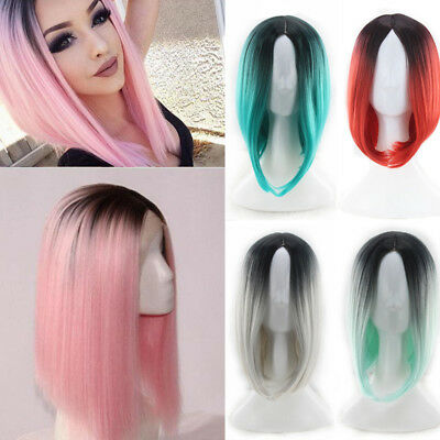 Women Heat Resistant Synthetic Ombre Wigs Straight Party Costume Bob Wig Cosplay
