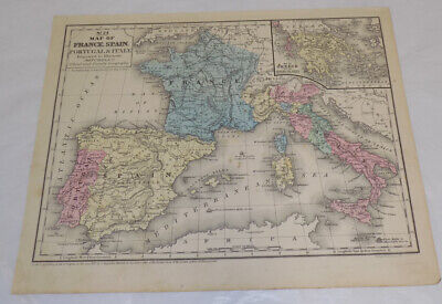 1852 Antique COLOR Map///FRANCE, SPAIN, PORTUGAL, AND ITALY