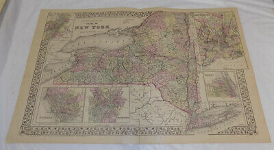 1883 Antique COLOR Map///NEW YORK