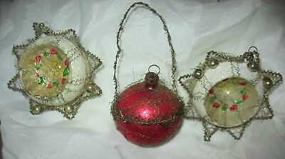 Antique Victorian Wire Wrapped Christmas Ornaments   Indents & Basket