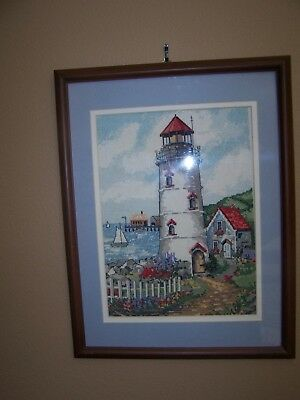 Needlepoint Art Work- Lighthouse -Cottage Signed S H -Yr. 2005