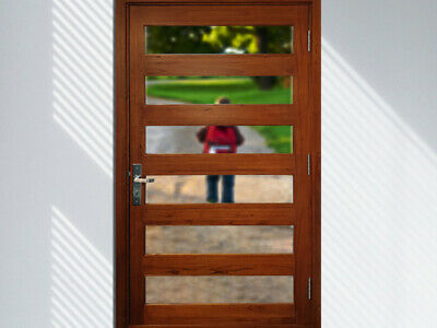 CEDAR TIMBER FRONT DOOR, 6 SLAT 1200Wx2100H, STAINED & OILED, CLEAR GLASS