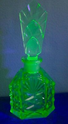 Vaseline Uranium Glass Perfume Bottle Antique Art Deco Bohemian Hand Cut