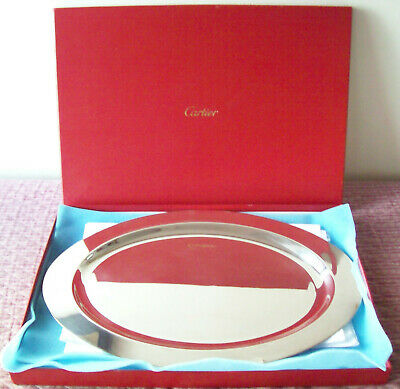 Vintage Huge & Heavy Cartier Sterling Silver 2  1/2 Pounds Serving Tray In Box