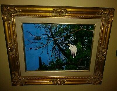 Florida Everglades Original Dramatic Painting Great White Heron Painting Framed