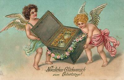 1909 VINTAGE EMBOSSED CHERUBS with TREASURE CHEST of  LUCKY GOLD COINS  POSTCARD