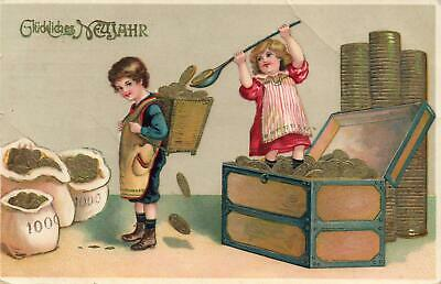 1913 VINTAGE ENGRAVED HAPPY CHILDREN with TREASURE CHEST of GOLD COINS POSTCARD