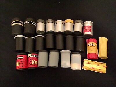 Expired 35mm / 120mm Film Lot With Vintage Canisters (16 Rolls Of Film)