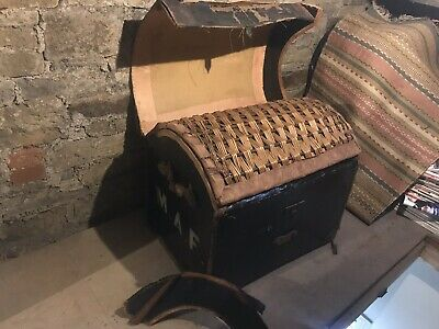 Vintage Antique Leather Domed Trunk Chest Blanket Toy Box Nautical Sea 19thc Old