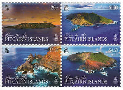 "Pitcairn Islands 2018 ""From The Air"" Drone Images Set(4) Mnh"