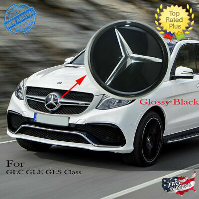 Mercedes Black Front Grill Star Emblem Glass Style Modified for GLC GLE GLS
