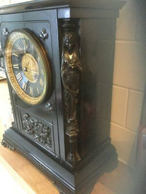 A Good Quality Caryatid Figure Bronze And Slate Marble Mantle Clock C-1870