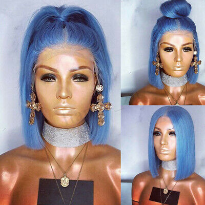 10-24'' Women Wigs Light Blue Lace Front Wig Fashion Synthetic Hair Bob Straight