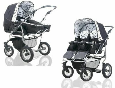 New Baby Pushchair Pram  Sport Twin Double Travel System 2x Car Seat 34 Colours