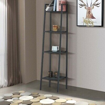 Black 4 Tier Ladder Storage Home Display Shelf Bedroom Bathroom Rack Iron Stand
