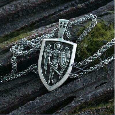 Silver Archangel St.michael Saint Cross Shield Orthodox Chain Necklace