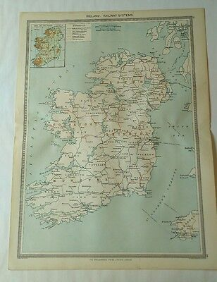 Antique Map c.1906 - Ireland: Railway Systems - Harmsworth Atlas