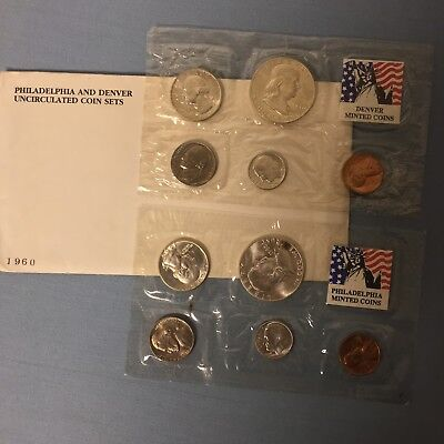 1960 US MINT UNCIRCULATED COIN SET - 10-COIN P & D SET with OGP