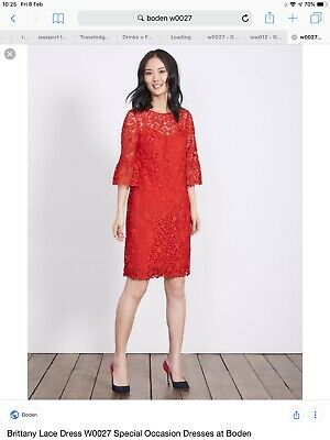 Boden BNIB Brittany Lace Dress - Red - Size 10R