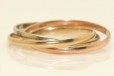 Vintage Three Color 9Ct Gold Russian Wedding Band Ring Size L 12