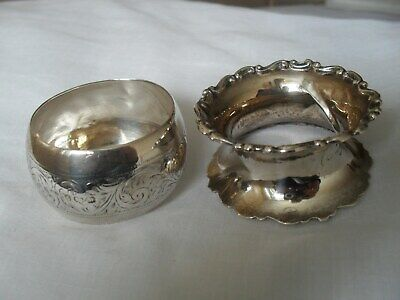 2 antique solid silver napkin rings hallmarked