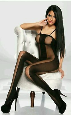 Catsuit Bodystocking Ouvert Clubwear Swinger Party Nylons offener Schritt HOT