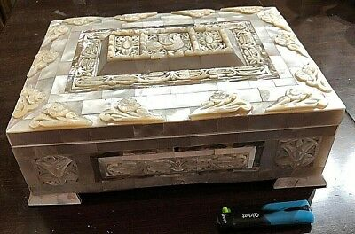Antique Vintage Carved Mother of Pearl a big Table Box  Late 19th Century