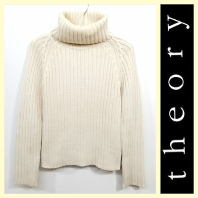 454fb70b4a Theory $395 women's ivory chunky ribbed knit wool turtleneck sweater~M/S