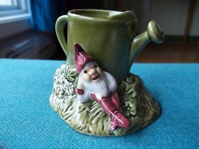 "Vtg SYLVAC Ceramic PURPLE GNOME Elf With GREEN Watering Can Figurine 4"" x 3"""