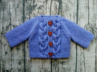 Hand knitted baby girl cardigan purple/lavender 0-3 months
