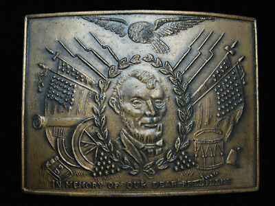 OC25132 NOS VINTAGE 1970s IN MEMORY OF OUR DEAR PRESIDENT (LINCOLN) BUCKLE