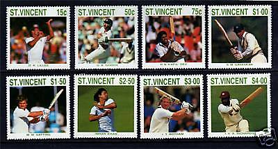 St Vincent 1988 Cricketers SG1144/51 MNH