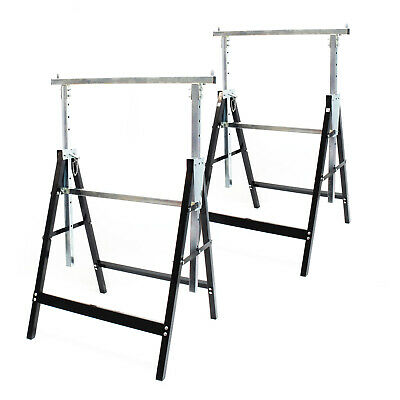 2x Heavy Duty Saw Horse Builder Trestle Foldable Adjustable Height 200kg