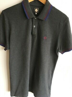 5a8ee62654f PRETTY GREEN POLO Shirt Rosler Mens Black Top With Paisley Pattern ...