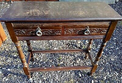 Small Hall Table Carved Wood Vintage Antique Style 2 Drawers