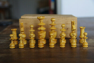 ANTIQUE FRENCH REGENCY CHESS SET_ LATE 19th_early 20 th KING 70MM