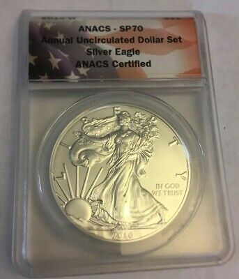 2016 W Burnished Silver Eagle Anacs Sp70 From Annual Uncirculated Dollar Set