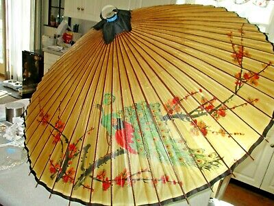 Vtg Japanese Or Chinese Rice Paper Bamboo Hand Painted Umbrella Parasol
