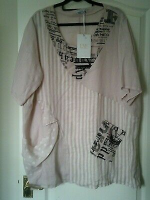 c16569cc735 MADE IN ITALY Pale Pink Short Sleeved Linen Tunic/Top with Black Print. BNWT