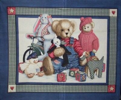 Quilting Sew Cotton Baby Infant Toddler Quilt Top / Wall Hanging Teddy & Toys