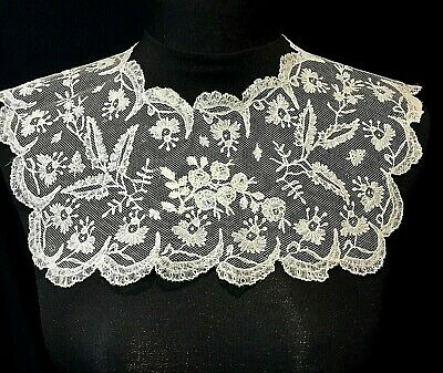 Antique 19Th Century Fine Brussels Applique Lace Collar - Lovely