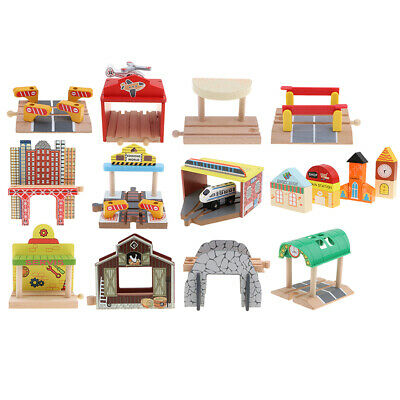 Wooden Train Track Accessories Set DIY Assembly Building Blocks Toy for Kids