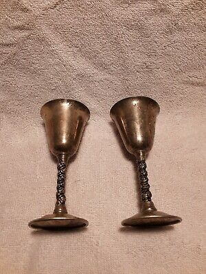 "2 Vtg FB Rogers Silver Plate Wine Water Goblets Glasses Twist Stem 5"" Spain"