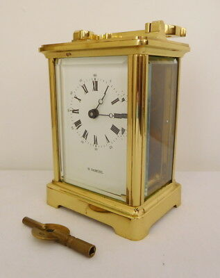Fema London 11 Jewel Brass Mechanical Carriage Clock Working H Samuel Retailer