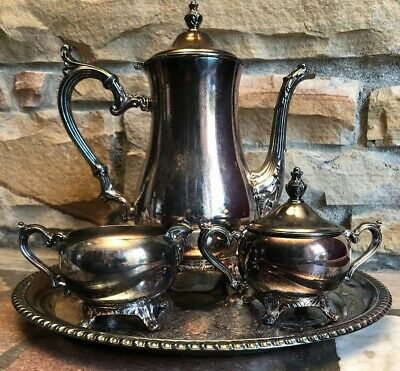 Wm Rogers Vintage 4 Piece Silver Plated Tea/Coffee Set with Serving Platter