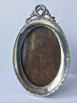 Henry Charles Freeman Antique Silver Oval Picture Frame W/ Wood Back & Stand
