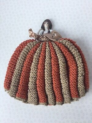 Vintage 40's Half Doll Teapot Warmer Tea Cosy with Wool Knitted Skirt